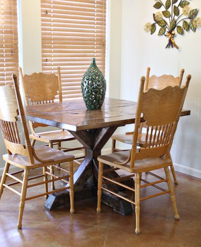 Ana White Dining Room Table: 4x4 X Base Pedestal Dining Table With Planked Wood Top