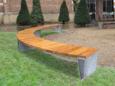 Veeva Straight Curved Steel Timber Seats Benches