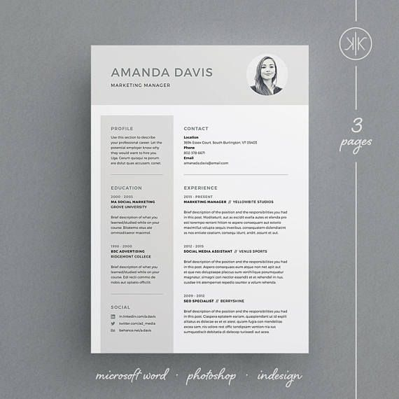 Resume Template Indesign 3 Page Resumecv Template With Free Matching Cover Letter  Amanda