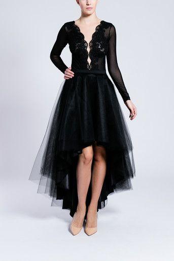 S095 Spodnica Tiulowa Z Kola Asymetryczna Czarna Tulle Skirt Tulle Skirt Black Mint Tulle Skirt