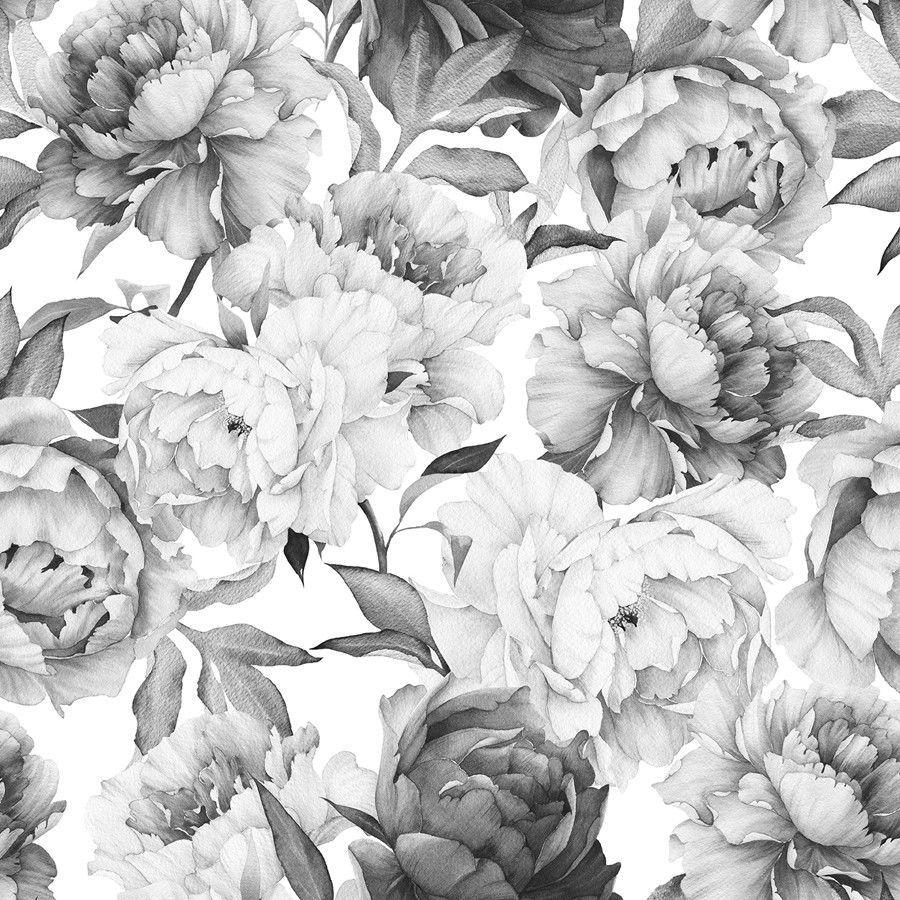 Clara Black White Wallpaper Nursery Wallpaper Flower Wallpaper Wallpaper