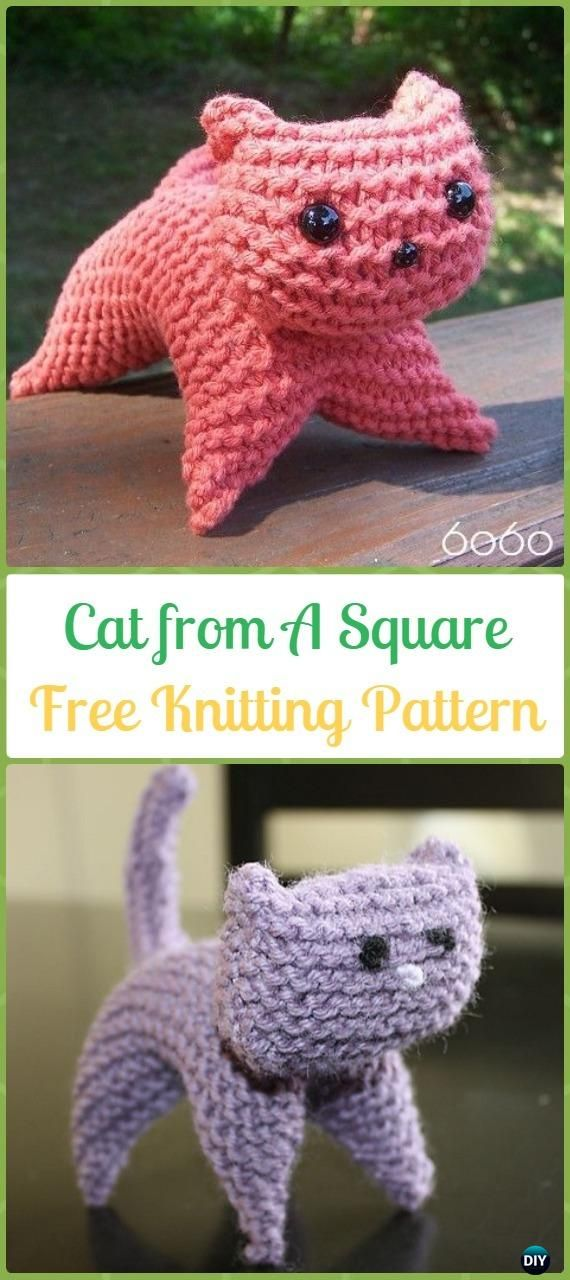 Amigurumi Cat from A Square Softies Toy Free Knitting Pattern - Knit ...