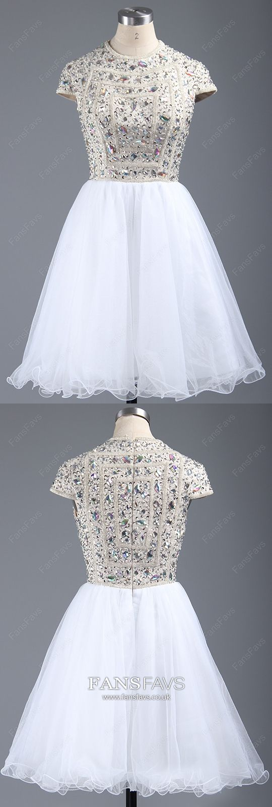 White homecoming dresses with sleeves short prom dresses a line