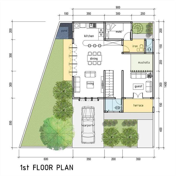 Pengembangan Rumah Di Lahan 108m2 Lantai Dasar Jangan Terlalu Banyak Diubah Ubah Ya Mas Itu Pesan Klien K Denah Lantai Rumah Arsitektur Denah Rumah