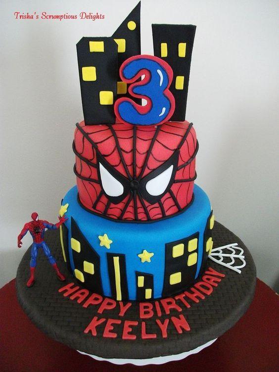 Spiderman Party Ideas Spiderman Cake Spiderman Birthday Cake Childrens Birthday Cakes Birthday Cake Kids