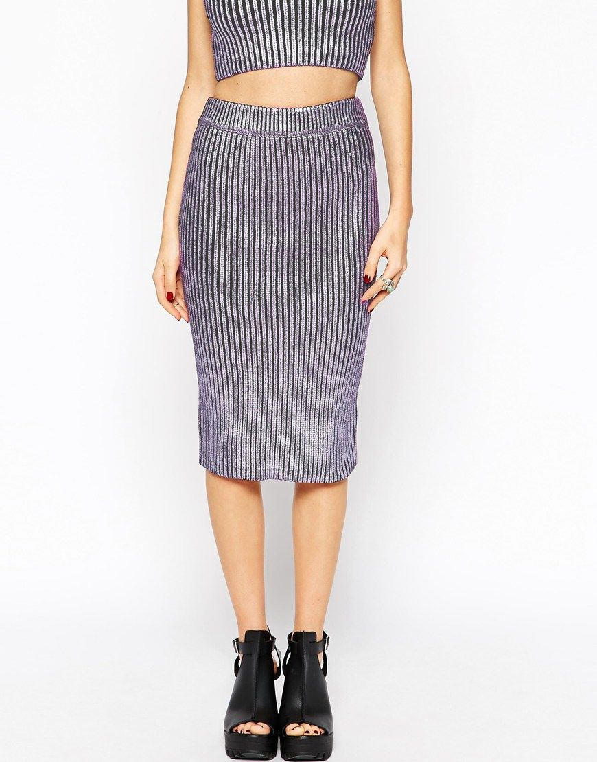 Image 4 of ASOS Co-ord Knit Skirt in Metallic Foil Print