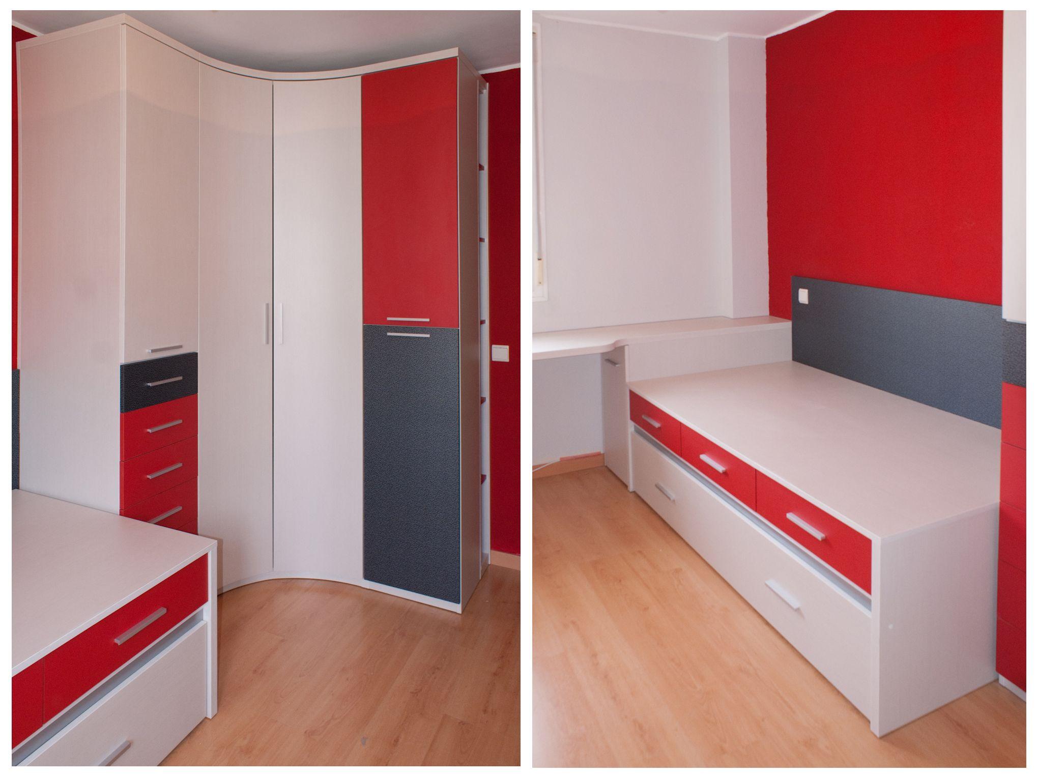 Dormitorio juvenil compuesto por armario xinfonier con for Armario rinconero ikea