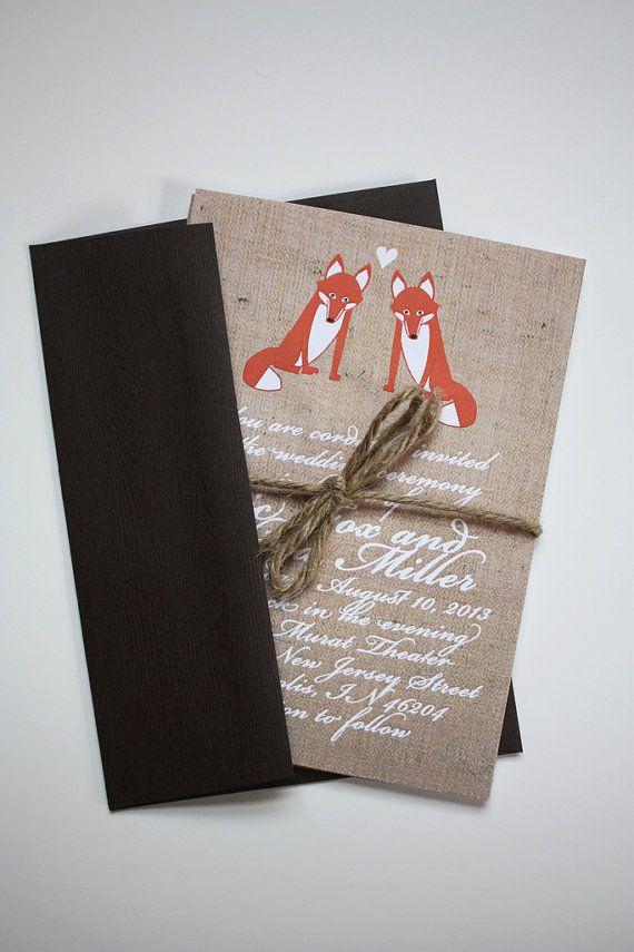Foxy Wedding Invitations Deposit by chicksnhens on Etsy