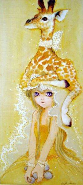 Girl with a giraffe on her head. By Camilla d'Errico. What is this I don't even.