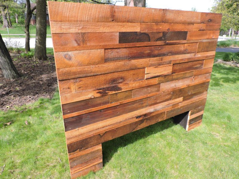 Headboard Concealed Gun Storage King Mixed Barn Wood Collage Front Reclaimed