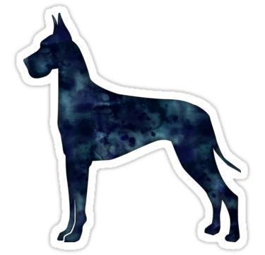 Great Dane Black Watercolor Silhouette Stickers By Tripoddogdesign Redbubble Great Dane Great Dane Puppy Dane Dog