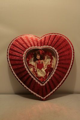 1950's Valentine Heart Candy Box with Plastic Doll