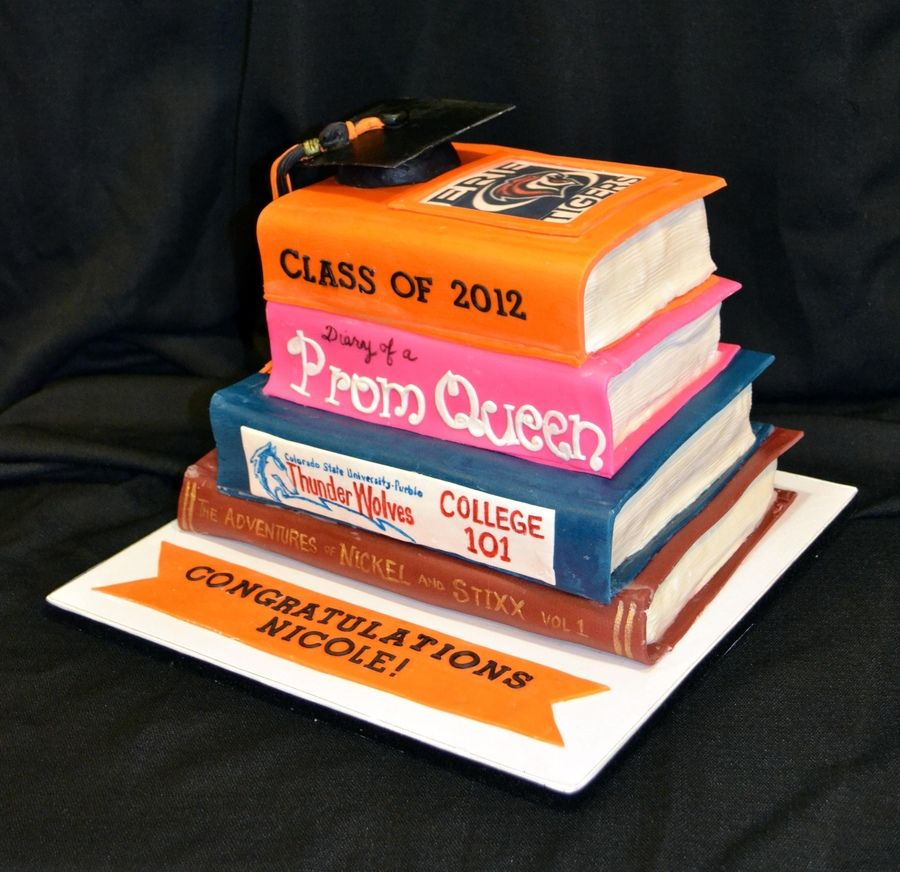 Cake Decorated Like Books : Stack of books with Highschool, college, prom queen ...