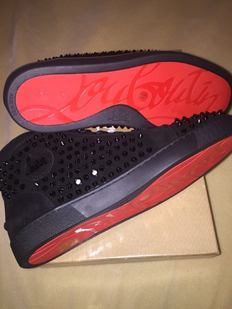 ef65a470f2c Christian Louboutin Louis Spike Men s Flat 10 Black Suede Red Bottoms