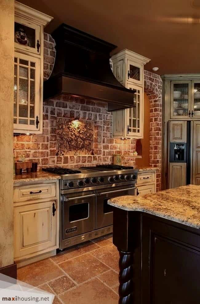 31 White Kitchen Cabinets Ideas In 2020 Rustic Farmhouse Kitchen Brick Kitchen Rustic Kitchen Cabinets