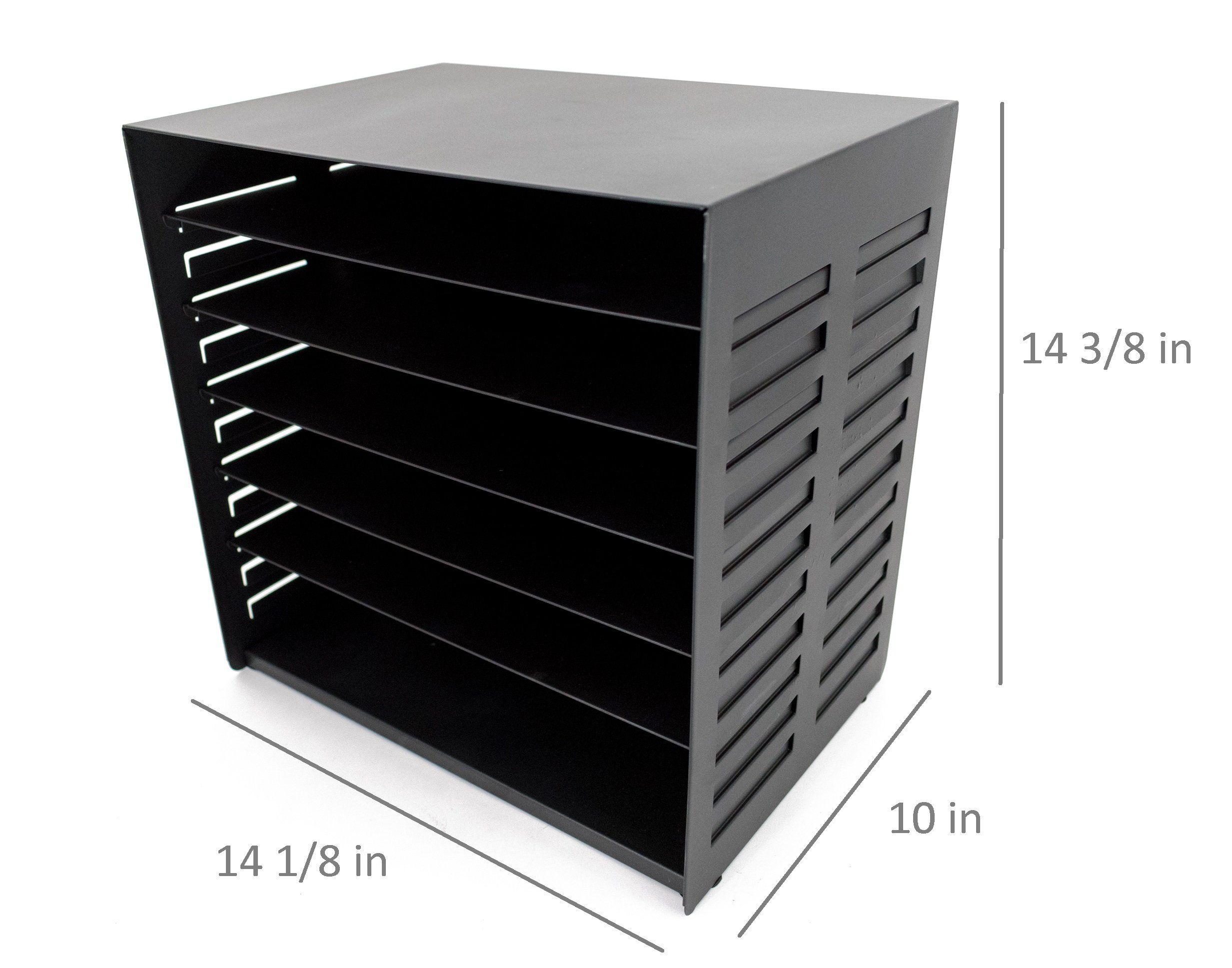 Blu Monaco 6 Tier Vertical Trays Document File Holder Office Desktop Sorter Rack Adjustable Shelves Black Metal Teal Desk Adjustable Shelving Office Desktop