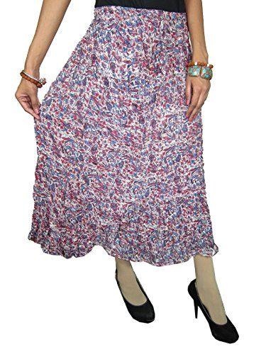 c8862be40d Boho Skirt, Women's Indian Floral Print Crinkle Broomstick Skirt Mogul  Interior http://