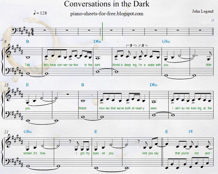 John Legend Conversations In The Dark Easy Piano Sheet Music Pdf