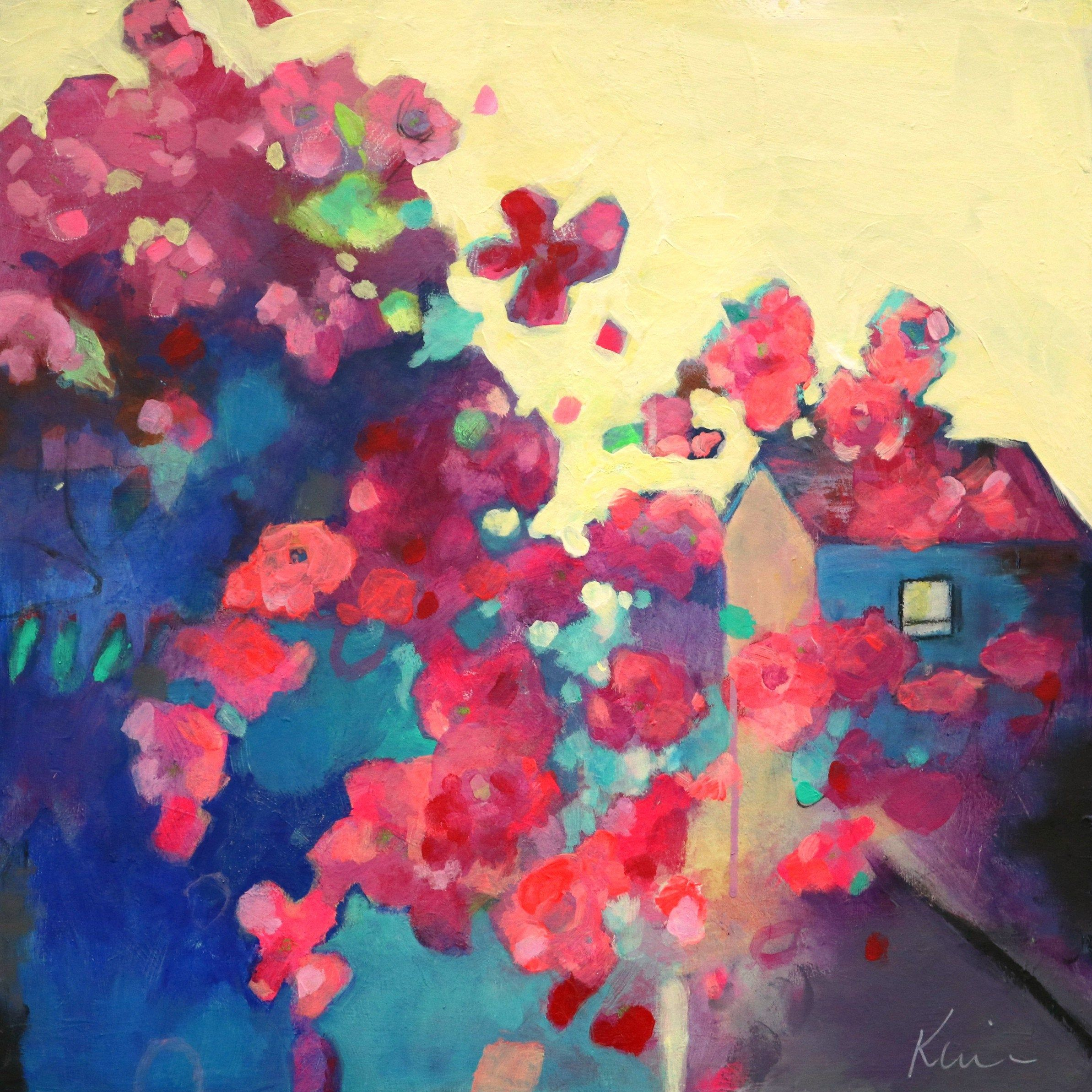 Abstract Floral Landscape Painting Colorful Farmhouse Home Behind The Cherry Blossoms 20x20 Landscape Paintings Abstract Painting