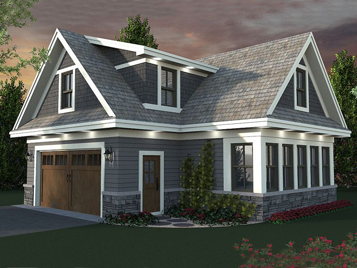 Detached Garage Plans With Apartment: 023G-0003: 2-Car Garage Apartment Plan With Craftsman
