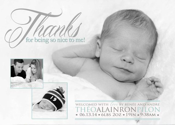 Thank you Birth Announcement Photo Card Thanks for by babybaloo – Black and White Birth Announcements