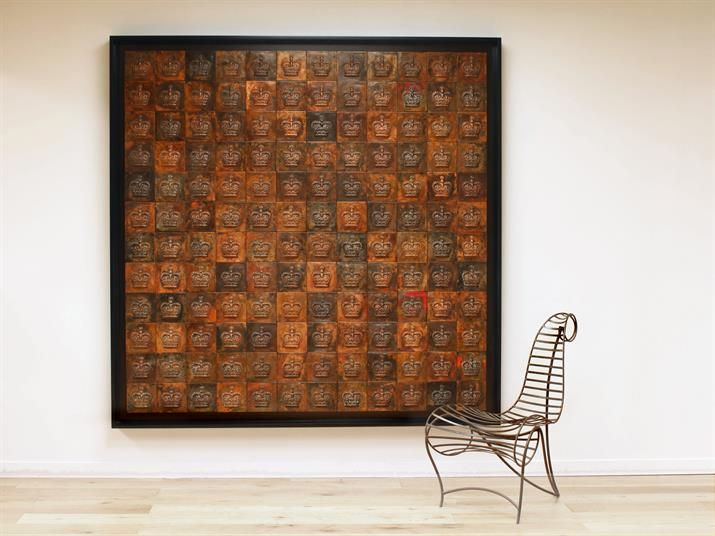 CROWN WALL ART Pressed copper tiles with patina mounted in a shadow ...