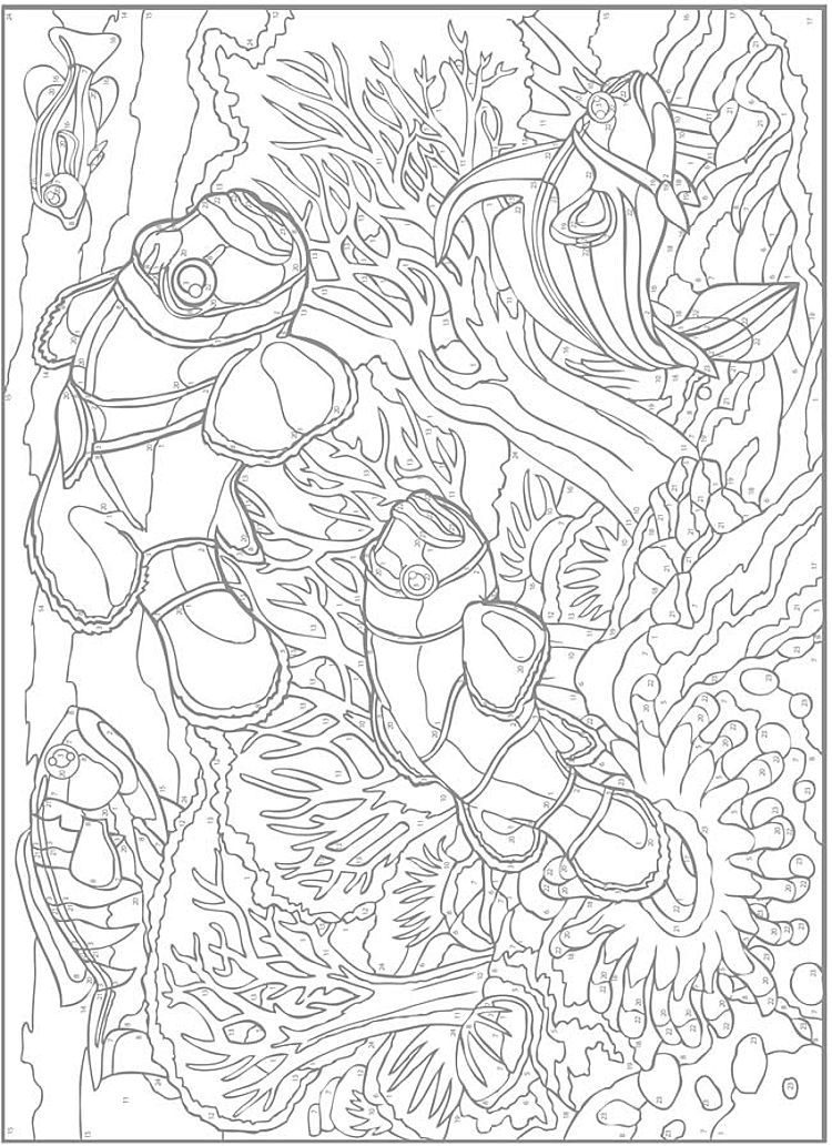 Dover Creative Haven Sea Life Paint By Number Color Page 2 Abstract Coloring Pages Coloring Books Animal Coloring Pages