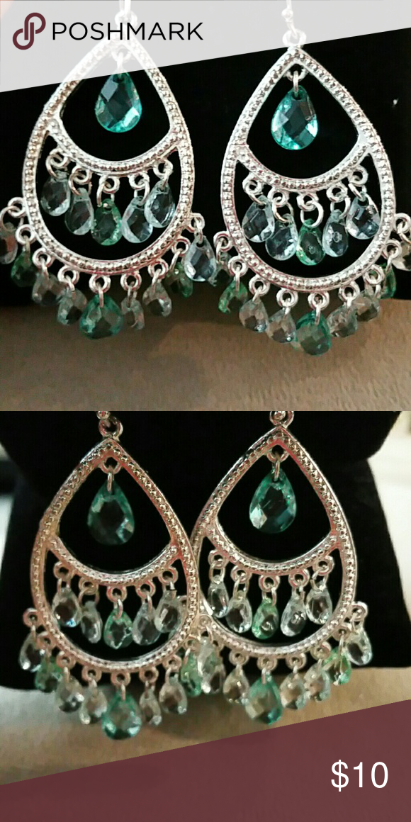 Earrings Really pretty 3 layer dangle earrings, these are costume jewelry aqua tones  Super cute Jewelry Earrings