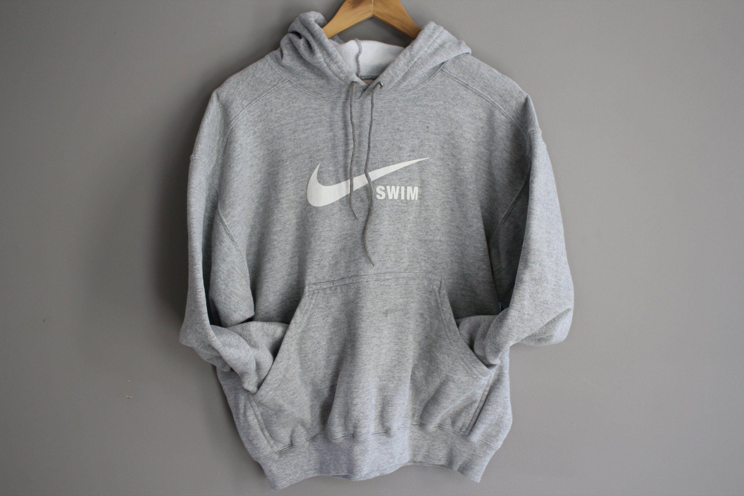 Size S Nike Grey Hoodies Fleece Sweatshirt Big Logo Grunge Etsy Sweatshirt Fleece Gray Hoodies Hoodies
