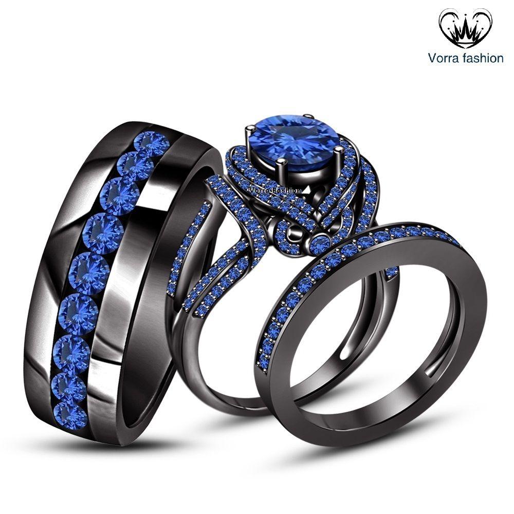 Ladies & Mens Engagement Ring Trio Set Blue Sapphire Black