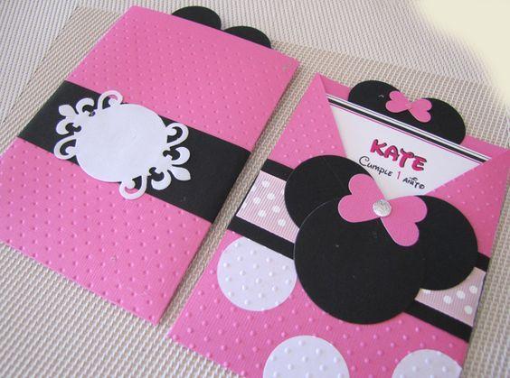 Tarjeta de cumplenos de Minnie bebé y Mickey mause Imagui cumpleaños de brittany Pinterest