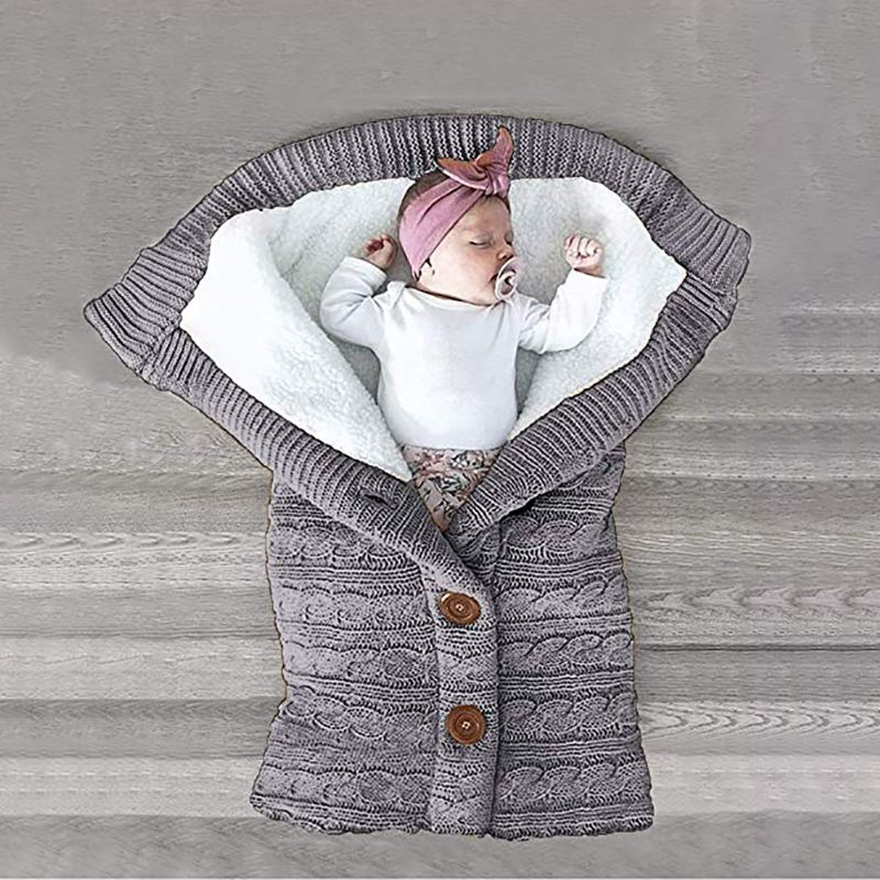 Photo of Baby Boy Girl Newborn Swaddle Solid Winter Plush Stroller Sleeping Bag