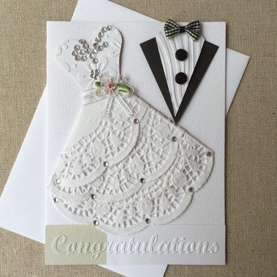 Handmade Wedding card Made with Love Blank insert White envelope - formal handmade invitation cards