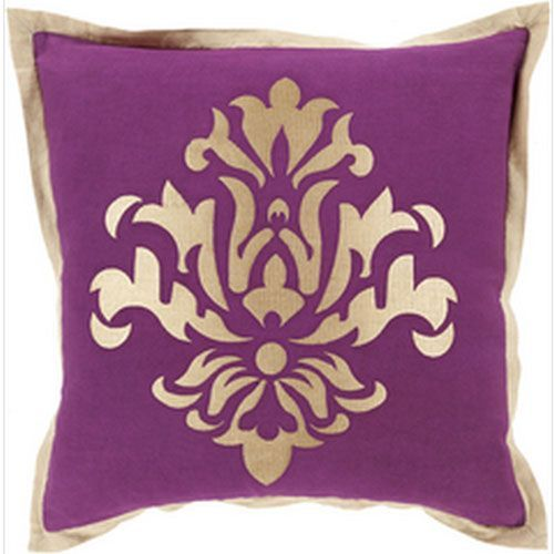Sparkling Damask Eggplant And Beige 40Inch Pillow With Down Fill Enchanting Eggplant Decorative Pillows