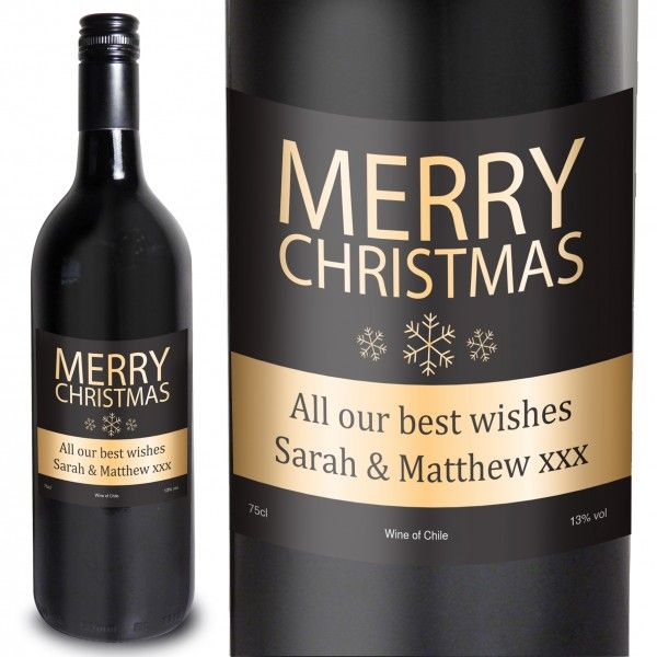 MERRY CHRISTMAS RED WINE – £16.99 WITH FREE UK DELIVERY Personalised this Merry Christmas Red Wine with any message over two lines of 30 characters. The wine label features a black and gold snowflake design. Please note- 'Merry Christmas' is fixed text. The wine itself is a red grape from Chilie's Maipo Valley, a great pleasure to drink with ripe fruity flavours and a lovely aroma. 75cl 13% Vol Wine of Chile