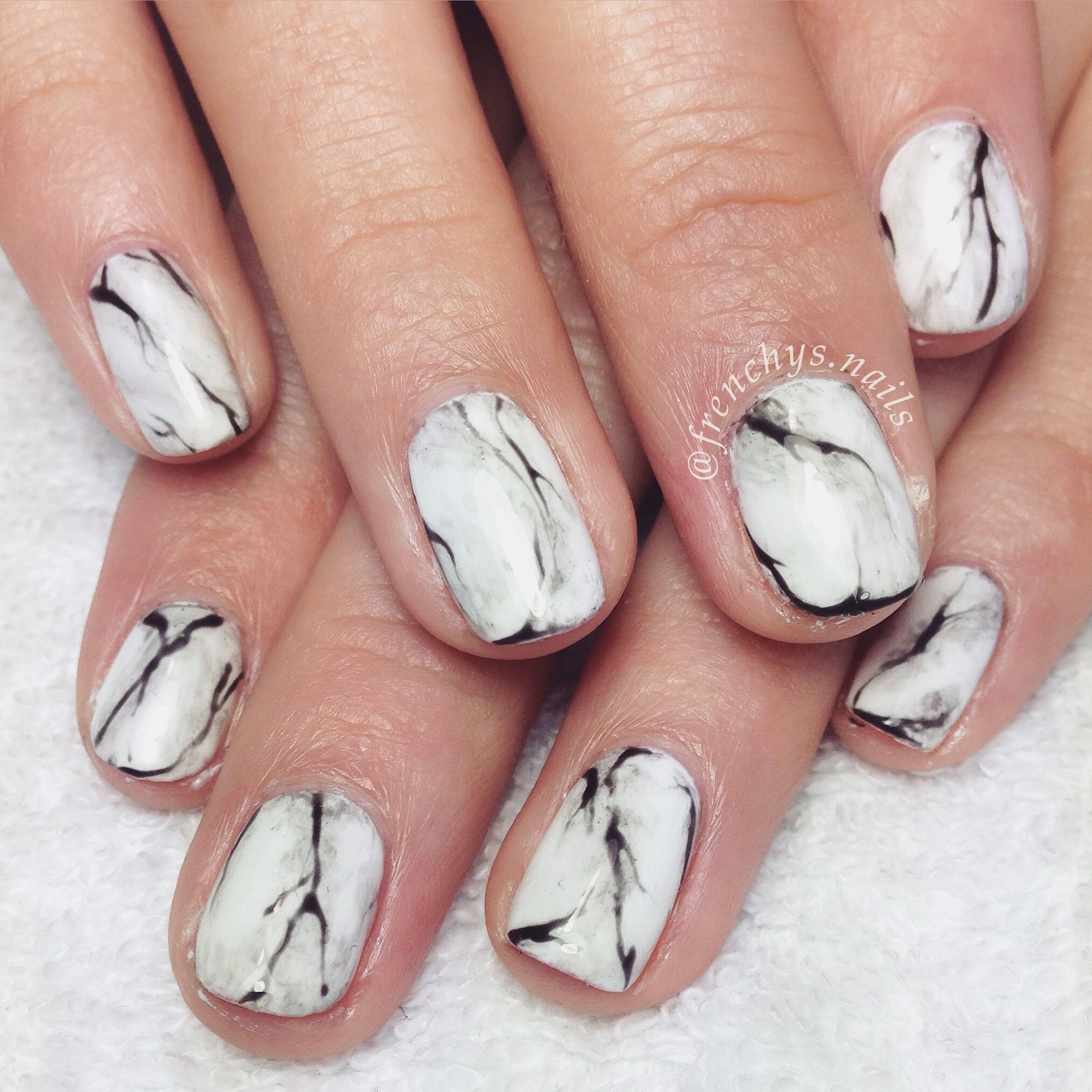 Marble effect nails using Gelish gelpolish ...