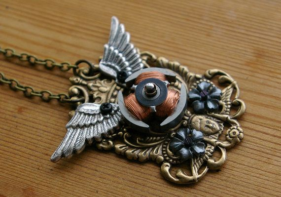 Cyber Cherub Crest Necklace  Copper by sleeplessstoryteller, $42.00