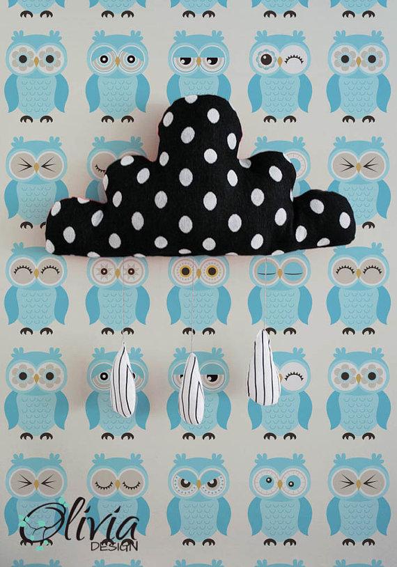 PEEL and STICK vinyl wallpaper BLUE cute owls pattern