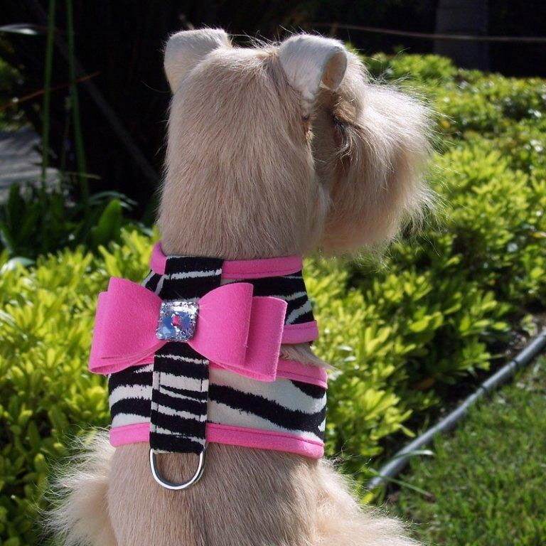 Susan Lanci Big Bow Crystal Contrasting Dog Harness Zebra And
