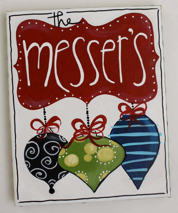 8x10 Christmas family name sign canvas by staceyfoster on Etsy, $25.00? Make it by painting or with scrapbook paper.