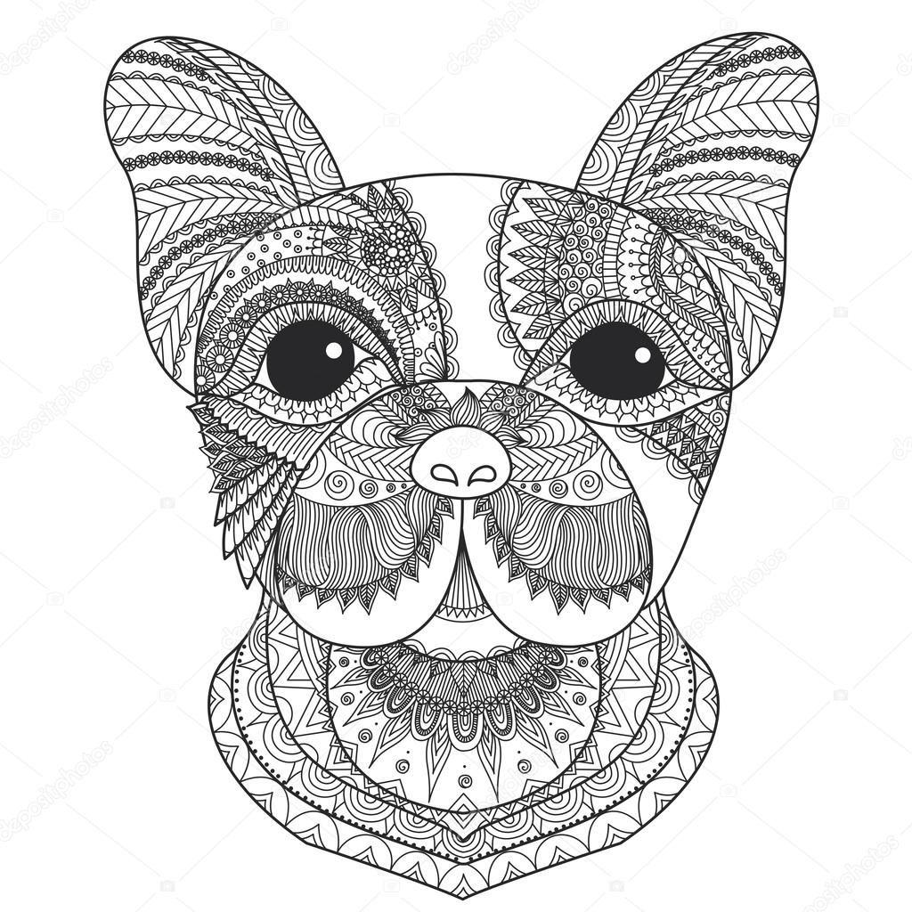 Bulldog francés cachorro zentangle estilizado para colorear libro ...