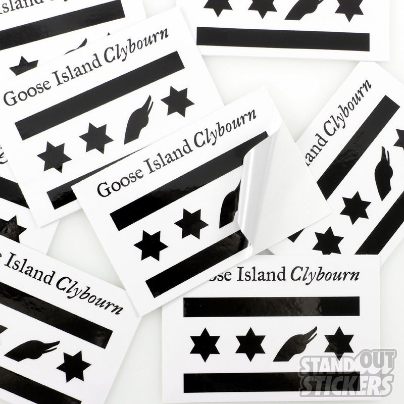 Goose island clybourn rectangle custom stickers