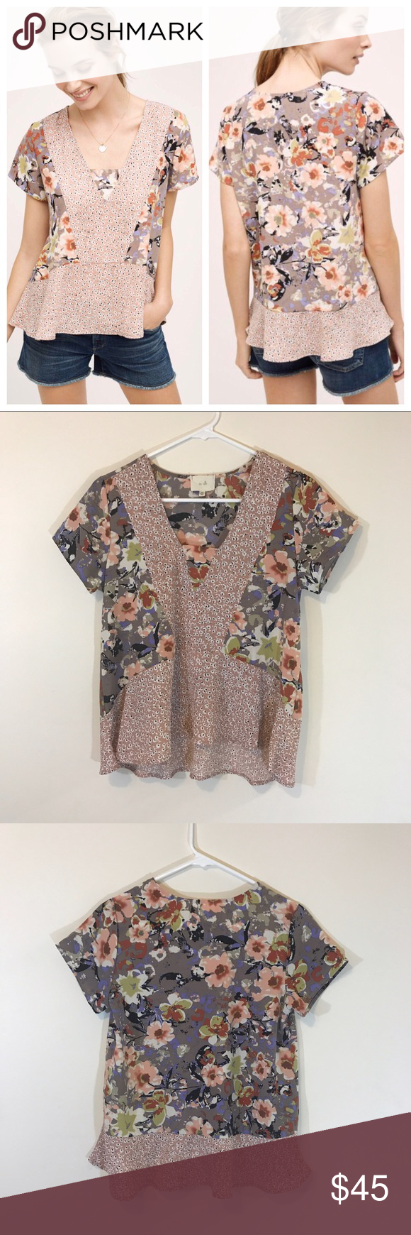 e571d1a58cc21 Anthropologie En Elle Verina Floral Peplum Top
