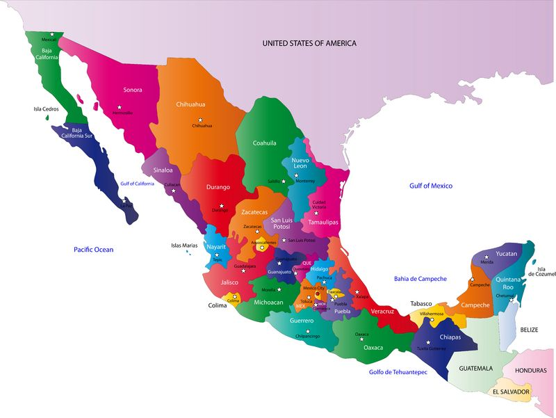 Map Of the United States and Mexico United States Mexico Map   sobre ...