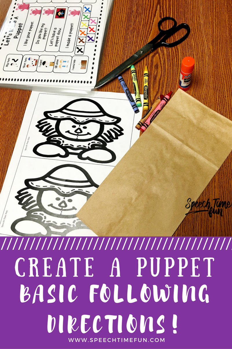 Create a puppet - basic following directions.  simple craft for the entire year.  speech and language therapy