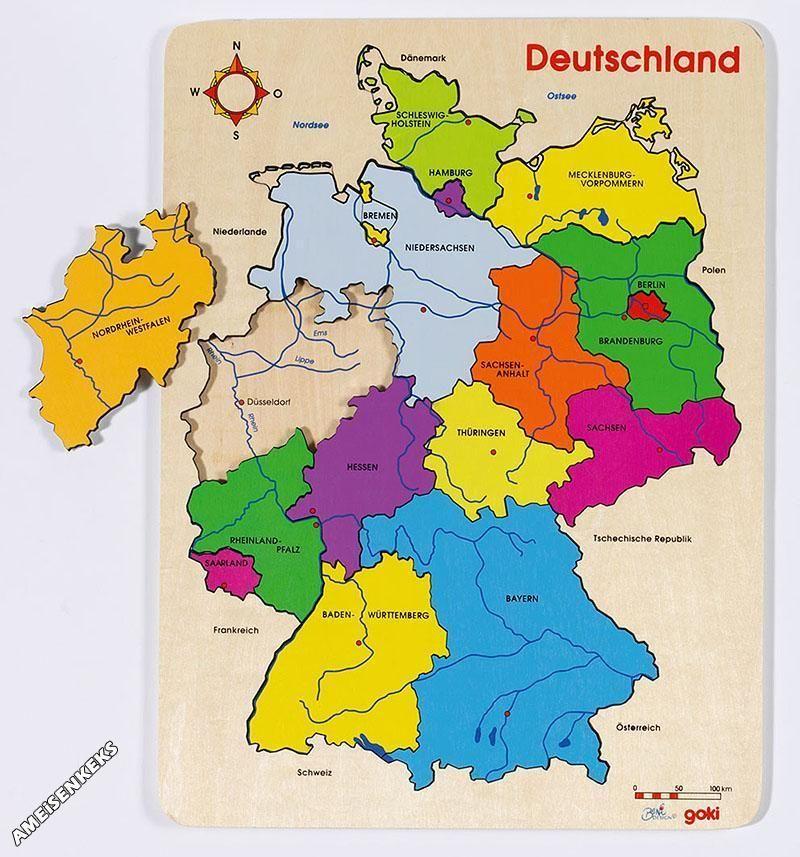 einlegepuzzle deutschland bundesl nder st dte fl sse lernpuzzle bundesland neu in spielzeug. Black Bedroom Furniture Sets. Home Design Ideas