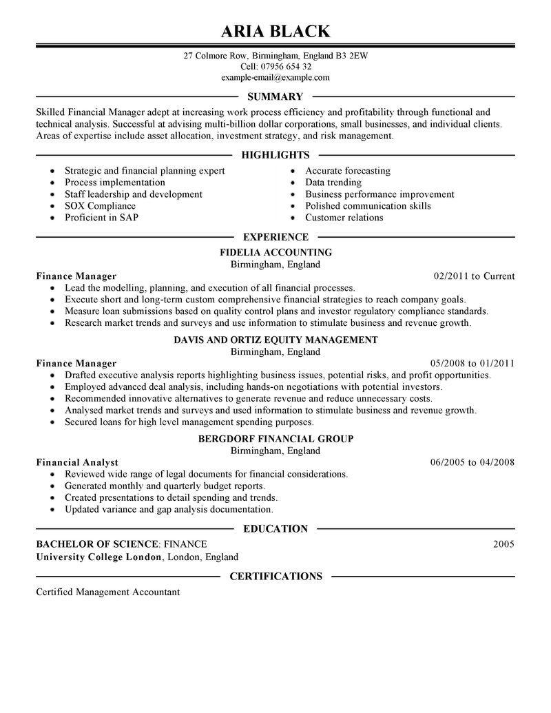 Printable Objective And Career Finance Manager Resume Creative