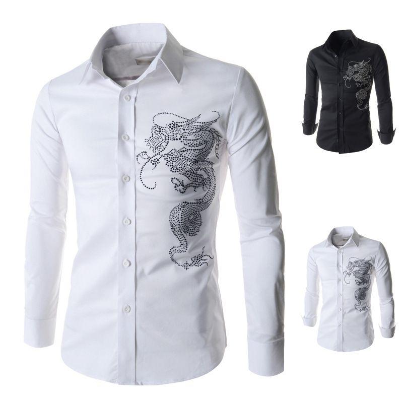 Cheap mens white long sleeve dress shirt