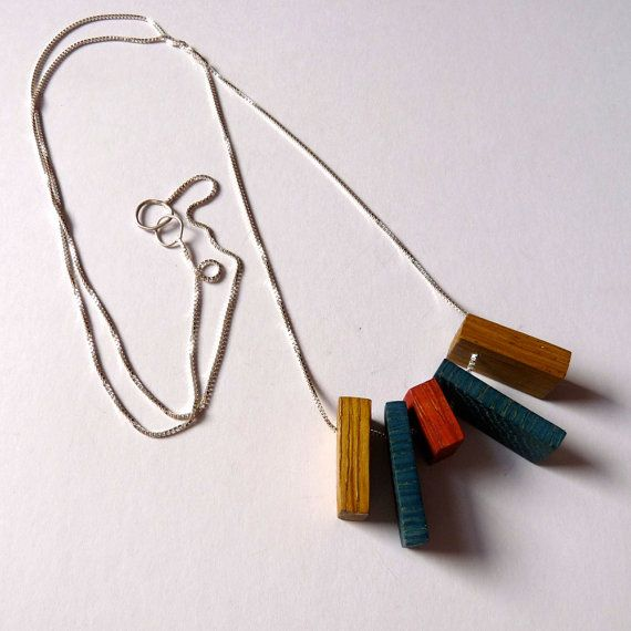 Awesome Bauhaus inspired wood necklace love the colors