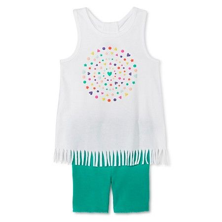 Target Baby Girl Clothes Adorable Baby Girls' Hearts Fringe Tunic And Bike Short Whitegreen  Circo Inspiration